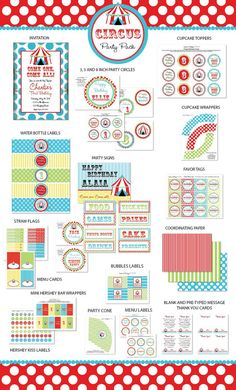 DIY Printable Circus PARTY PACK by LaurenHaddoxDesign on Etsy