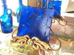 Cobalt Blue Sculpted Dish Fused Glass by GlitterbirdGlass on Etsy, $35.00