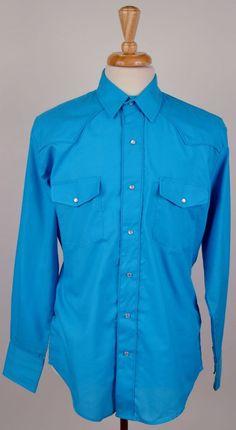 Roper men long sleeve pearl snap cotton blue brogue country western M shirt #Roper #Western