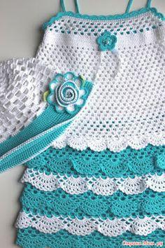 Crochet Knitting Handicraft: Mint dress for girl