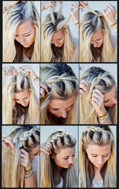 The first step : Take a 3-inch section of hair at the hairline, in the part that separates the hair. Divided into three sections and b...