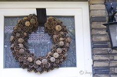 Pine Cone Wreath Fall front door