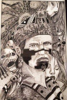 Aztecs Chicano Drawings, Chicano Art, Aztec Drawing, Mayan Tattoos, Aztec Tattoo Designs, Chicano Lettering, Grace Art, Lowrider Art, Mythology Tattoos