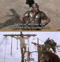 And this darker one: 22 Bloody Brilliant Lines From Monty Python British Humor, British Comedy, Eric Idle, Funny Jokes, Hilarious, Dark Humour Memes, Monty Python, Comedy Tv, Picture Captions