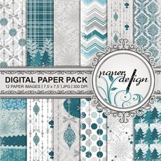 Digital Paper Pack instant download winter Christmas by Stilboxx