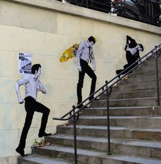 Stairs in Paris by Levalet Street Collage art