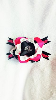 Pink and Black Stacked Diamond Hair Bow Clip by TeensyThings, $3.50