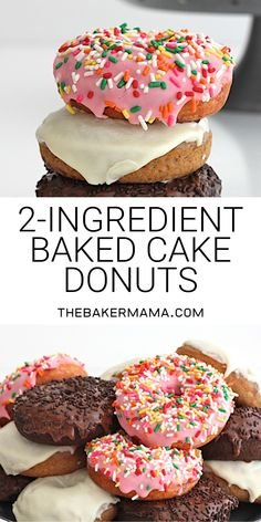 These baked cake donuts are too good to be true! Just two ingredients for the donuts and a container of frosting for the glaze and in less than 30 minutes youll have great cake donuts ready to enjoy! Cake Mix Donuts Recipe, Easy Donut Recipe, Baked Donut Recipes, Baked Doughnuts, Cake Mix Recipes, Best Mini Donut Recipe, Donuts Recipe No Yeast, Cake Donut Recipe Baked, Cake For Two Recipe