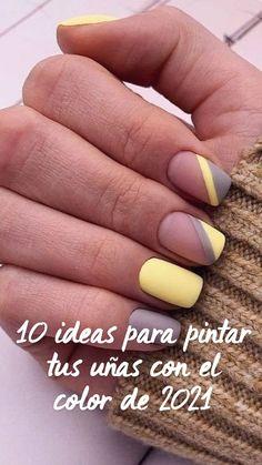 Yellow Nails, Purple Nails, Cute Acrylic Nails, Cute Nails, Nail Color Combinations, Tie Dye Nails, Short Gel Nails, Polygel Nails, Minimalist Nails
