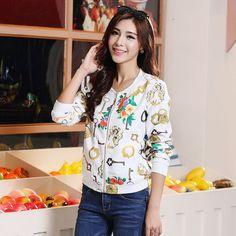 Plus Size Vintage Sweet Floral Long-sleeved Bomber Short Print Zipper Jacket Coats Baseball Nniform Autumn Women Bomber Jacket