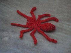 Creepy flat crochet spider