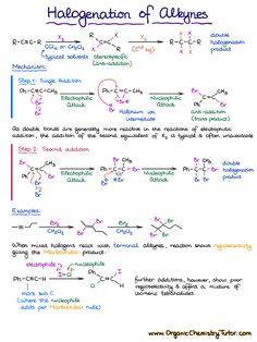 Reactions of Alkynes 4 Halogenation Organic Chemistry Tutor, Chemistry Basics, Organic Chemistry Reactions, Chemistry Textbook, Chemistry Study Guide, Chemistry Classroom, Chemistry Lessons, Teaching Chemistry, Chemistry Experiments