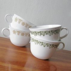 Vintage Corelle - I still have plates, cups, saucers and bowls with this same green pattern. They do not break easy & seem to last forever. Wow who knew I had Vintage...