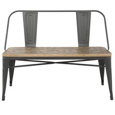 Industrial style tabouret accent bench -- wood and metal