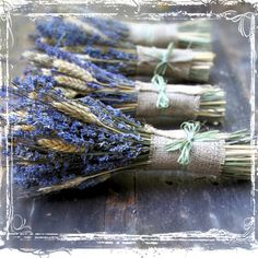Image of Wheat And Lavender Hand Tied Bouquet - Dried Herbal Flower Bundle