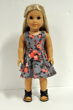 Floral 18 Inch Doll Dress - 18 Inch Doll Clothes - Gray Doll Dress - Sleeveless Doll Dress - 18 Inch Doll Clothing - 18 Inch Doll Dress 18 Inch Doll Clothes Gray and Coral Floral Print Sleeveless Skater Dress made to fit American girl doll clothes Ropa American Girl, American Girl Dress, American Doll Clothes, Ag Doll Clothes, American Dolls, Dress Clothes, Poupées Our Generation, Skater Skirt Dress, America Girl