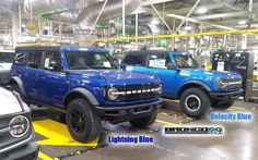"""Bronco Modified's Instagram photo: """"Lightning Blue vs Velocity Blue side by side posted by Bronco6g.com forum member 📷: 618TRVLWILD ┄┄┄┄┄┄┄ Follow for more 📸 of the reborn…"""" Ford Bronco, Broncos, Lightning, Monster Trucks, Blue, Instagram, Ford Bronco Lifted, Lightning Storms, Lighting"""