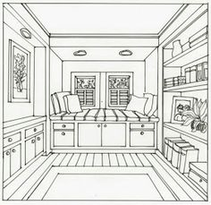 Room interior drawing showing one point perspective dining room one point perspective 2 point perspective dining room awesome sketch of living room one 12 3 point perspective room interior inside room One Point Perspective Room, 1 Point Perspective Drawing, Perspective Art, Drawing Interior, Interior Design Sketches, Bedroom Drawing, House Drawing, Drawing Sketches, Drawings