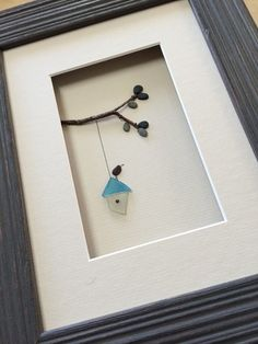 6 by 8 birdhouse pebble art by sharon nowlan by PebbleArt on Etsy