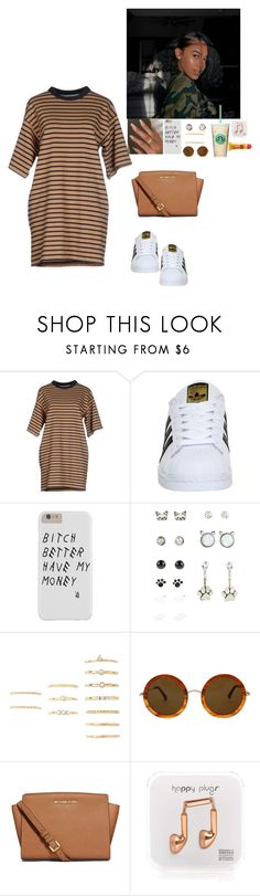 """Untitled #409"" by bxbygirlslays ❤ liked on Polyvore featuring Wood Wood, adidas, Hot Topic, Forever 21, The Row, MICHAEL Michael Kors, Happy Plugs and Carmex"