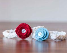 Ready to Ship Upcycled Newborn Knit Headband - Blue - Photography Prop. $14.00, via Etsy.