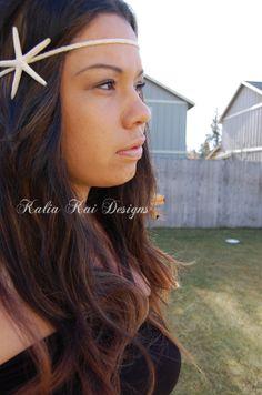 Boho Chic White Starfish Headband with feather by KaliaKaiDesigns, $18.00