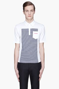 Dsquared2 - White And Navy Striped Marine Fit Polo