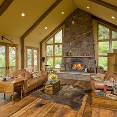 LOVE THE WOOD FLOORING ~ IT IS BEAUTIFUL~!!!!!!! ♥ ♥ ♥ ~ Rustic Fireplace Design, Pictures, Remodel, Decor and Ideas - page 72