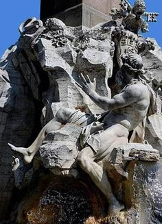 La Fontana dei Quattro Fiumi. Collectively, the river gods represent the four major rivers of the four continents through which papal authority had spread: the Nile representing Africa, the Danube representing Europe, the Ganges representing Asia, and the Plata representing the Americas. Here, the Danube, representing Europe, closest to the Papal Coat of Arms, closest to Rome.