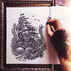 Wow! This #penandink #illustration of a #giantoctopus attacking a #sailingship by @lokkearts is amazing! Love the #details on the roiling #waves and the design of the #ship and its #sails. Another great #drawing Lokke!  #CreativeAirship