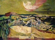 John Minton (English, 1917-1957), Landscape and Windmill, 1945. Oil on canvas, 56.5 x 76.5cm. Aberdeen Art Gallery.
