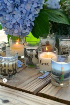 Custom Photo Candle Holders #michaelsmakers DIY Packing Tape Transfers