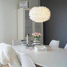 Trochę nas nie było ale już wracamy :) Lampa Eos  looks perfect over this dining table to bring a warm glow and add softness to the clean sleek lines of the other furniture.  Available from .www.cloudberrylicing.co.uk #eos #lighting #interiordesign #interiorideas Dining Table Chairs, Dining Furniture, Scandinavian Style, Room Inspiration, Ale, Sweet Home, Interiors, Pure Products, Homes