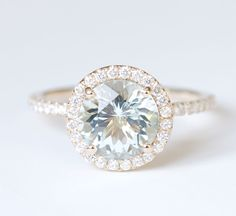 Aquamarine Diamond Halo Engagement Ring 14K Yellow gold  -must have this!!!!!!! Tell Brian!!!!