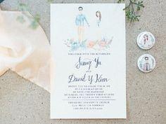 Hermosas invitaciones de boda con acuarela - Ilustración de los novios  #MásQ1Boda #invitacionesdeboda #watercolor