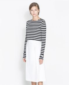 ZARA - NEW THIS WEEK - CROPPED STRIPED T-SHIRT - cute outfit
