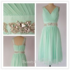 Mint Green Prom Dress,Custom-Made Short Bridesmaid Dress,Mini V-neck Party Dress with Beadings,Cocktail Dresses,Homecoming Dresses on Etsy, $125.00