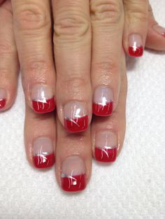 Such pretty holiday nails! a bright red gel french accented with silver swishes. all organic non-toxic odorless gel! Red And Silver Nails, Red Gel Nails, Gel Nail Colors, Gold Nails, Red Nail, Holiday Nail Designs, French Nail Designs, Simple Nail Designs, Acrylic Nail Designs