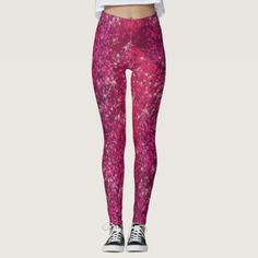 Hot Pink Glitter Sparkly Bling Fashion Yoga Pants - glitter glamour brilliance sparkle design idea diy elegant