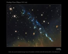 Herbig-Haro Object 110 - The basic configuration of HH objects is usually the same, although they come in a wide array of shapes. Twin jets of heated gas, ejected in opposite directions from a forming star stream through interstellar space. The outflows are fueled by gas falling onto the young star, which is surrounded by a disk of dusk and gas