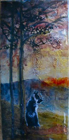 Crossing over the Rainbow Bridge mixed media with copper