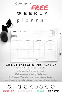Blackco will motivate and help you to achieve your dream life. Subscribe and get your Free Weekly Planner. Free Printable Planner. Minimal and focused weekly planner. Also, as a subscriber, you will have 10% discount in the shop, visit us!