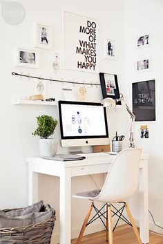 Office space inspire. Really like the rope with clips for hanging things. White frames. guest post: By Holborn by a merrymishapblog, via Flickr