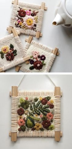 Fleur Lyon& Embroidered Tapestries Look Like a Cozy Sweater Feels Fleur Lyons Embroidered Tapestries Look Like a Cozy Sweater Feels Ribbon Embroidery, Embroidery Art, Cross Stitch Embroidery, Embroidery Designs, Japanese Embroidery, Tapestry Weaving, Loom Weaving, Weaving Projects, Weaving Techniques