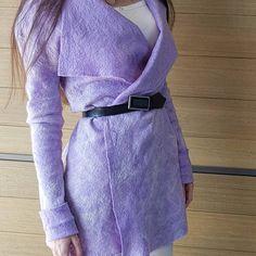 buy felt cardigan lavender lilac colour, merino wool. купить кардиган из шерсти мериноса цвет лавандовый сиреневый