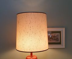 Beige Drum Shape 15 Inch  Lampshade Fiberglass Lamp Shade by GladStoneatHome on Etsy