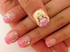 Kawaii Nails art. Sailor Moon!! debe ser dificilisimo hacer un diseño asi... www.facebook.com/paraisokawaii
