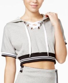 The Edit By Seventeen Lace-Up Cropped Hoodie, Only at Macy's - Grey/Black XL