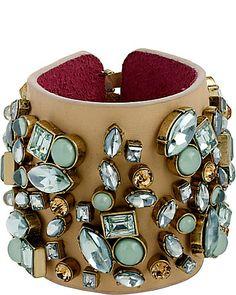 BETSEY JOHNSON Mint Stone Leather Wrap Bracelet $120