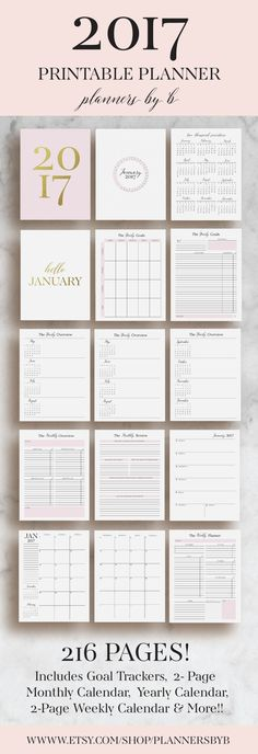 2017 Planner Printable 2017 Monthly Planner 2017 by plannersbyB